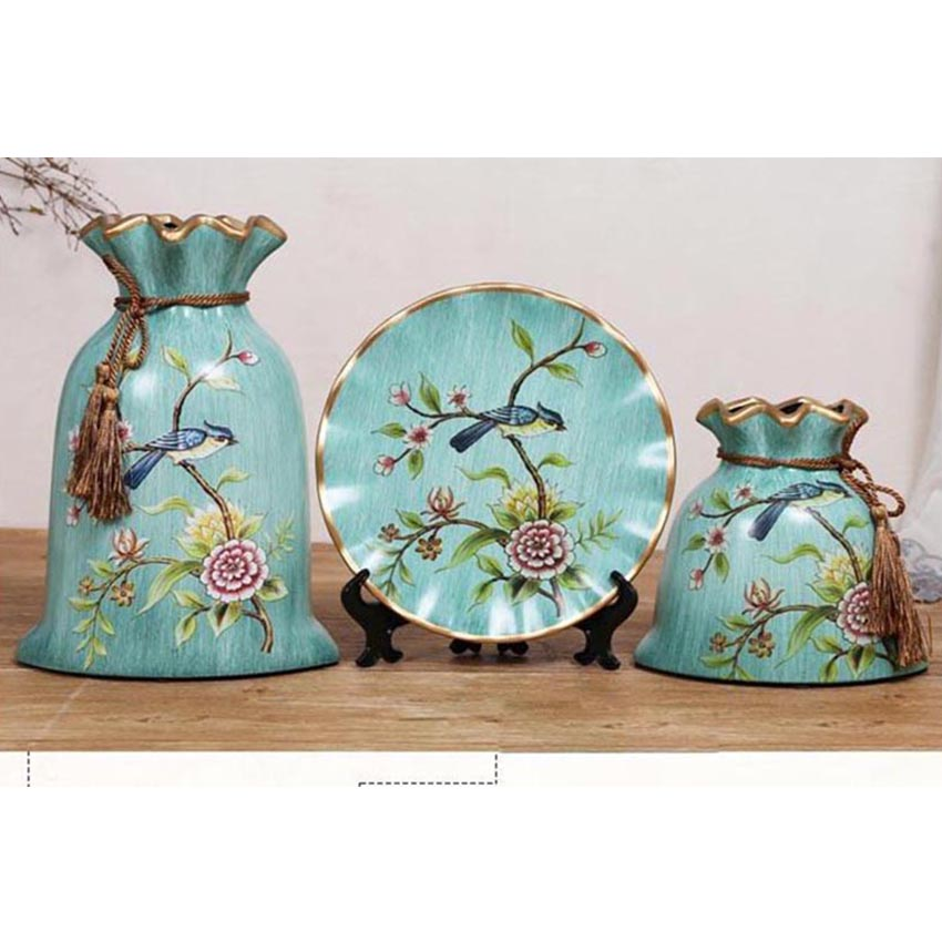 3 pcs set europe pastoral ceramic Flower Vase drawing home decoration tabletop vase new house gift in Vases from Home Garden