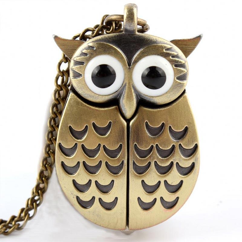 Vintage Bronze Cute Owl Pocket Watch Fob Chain Necklace Pendant Flip Case Watch Hour Clock For Men Women Animals Pocket Watches