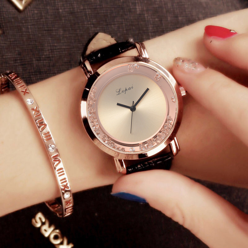 Lvpai Casual Fashion Woman Leather Band Watch Quicksand Rhinestone Quartz Bracelet Bussiness Dress Wristwatch Clock