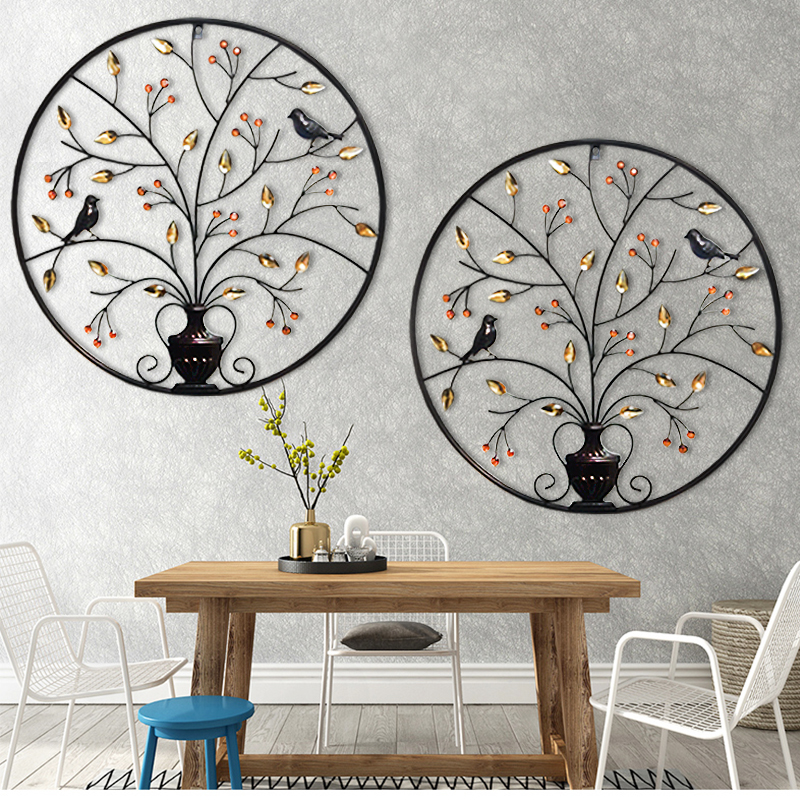 Metal 3d wall plaque iron bird tree home metal wall frame for Decoration maison aliexpress