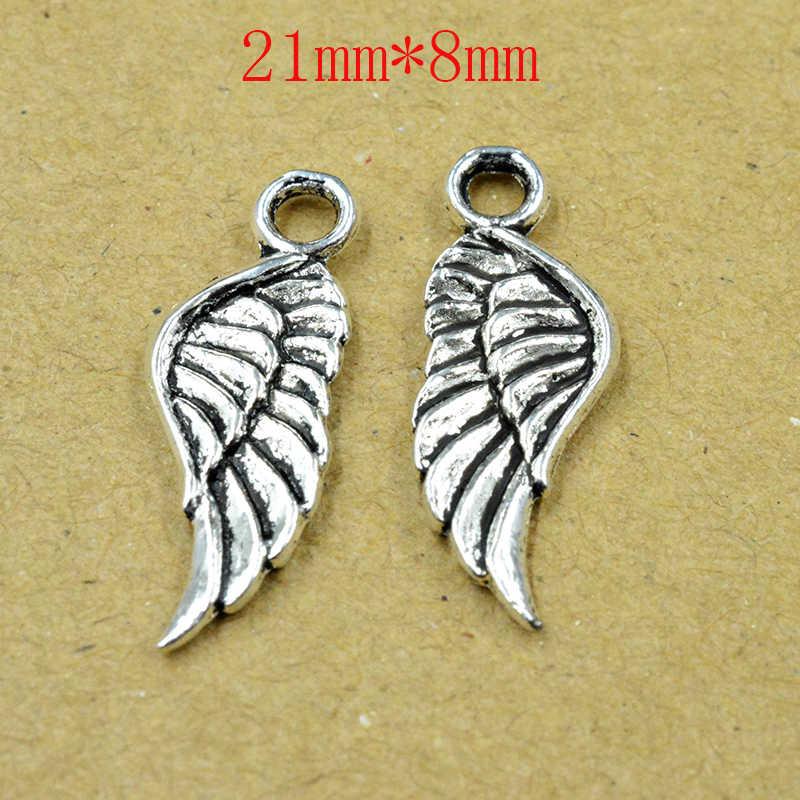 FLTMRH 10 Uds. 21*8mm encantos doble cara alas de Ángel colgantes chapados en plata antigua haciendo joyería de plata tibetana hecha a mano DIY