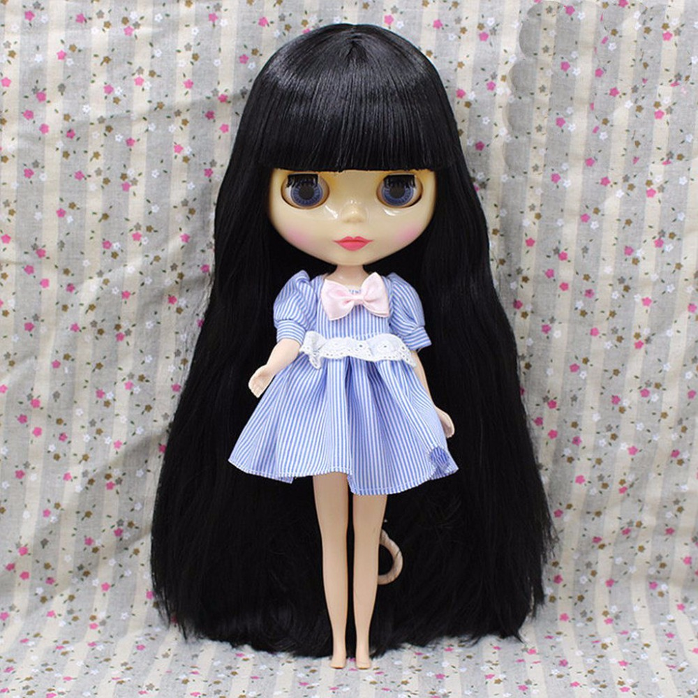 For 12 Blyth Doll 7Joint Nude Doll Transparent Skin Black hair
