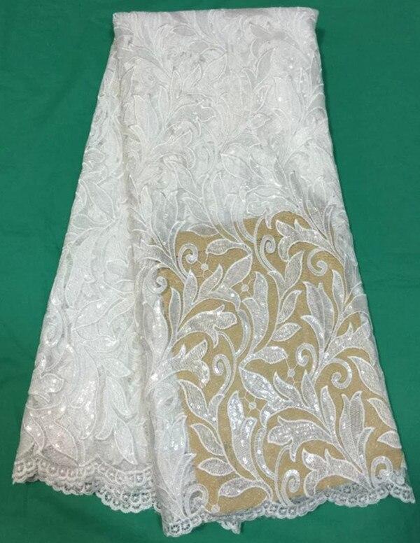 Nuevo bordado blanco tela de encaje de Red Africana tela de tul francés con lentejuelas para vestido de noche QN37-in Tela from Hogar y Mascotas    1