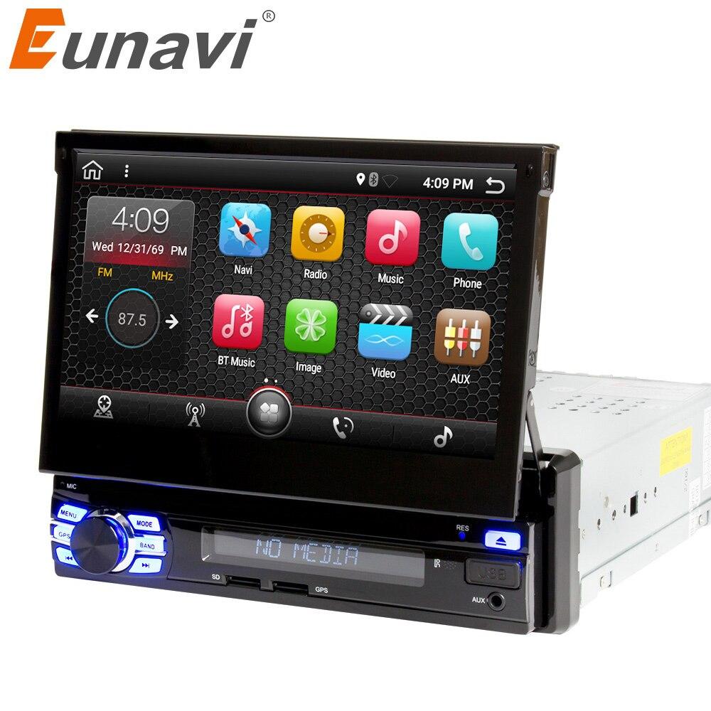 Eunavi Single 1 Din 7 Android 7.1 Quad core Car PC Radio Stereo GPS Navigation Universal 1024*600 HD Head Unit Wifi USB NO DVD joying 7 double 2 din android 6 0 universal car radio quad core 1024 600 hd car gps navigation best head unit car pc