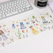4 шт/лот Корейская креативная бумажная наклейка фиолетовое платье