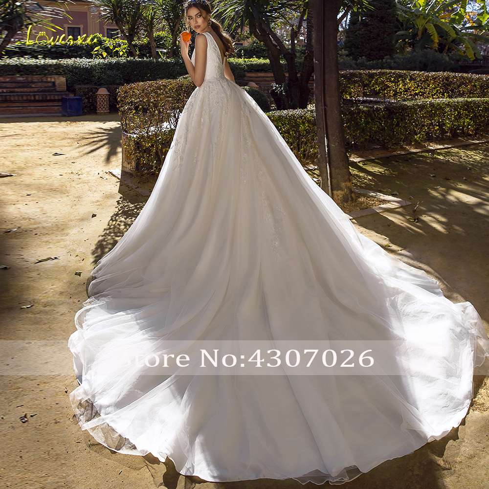 Image 2 - Loverxu Luxury V Neck A Line Wedding Dress Applique Beading Tank Sleeve Backless Bride Dress Chapel Train Bridal Gowns Plus Size-in Wedding Dresses from Weddings & Events