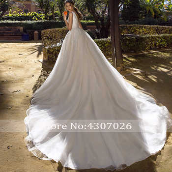 Loverxu Luxury V-Neck A Line Wedding Dress Applique Beading Tank Sleeve Backless Bride Dress Chapel Train Bridal Gowns Plus Size