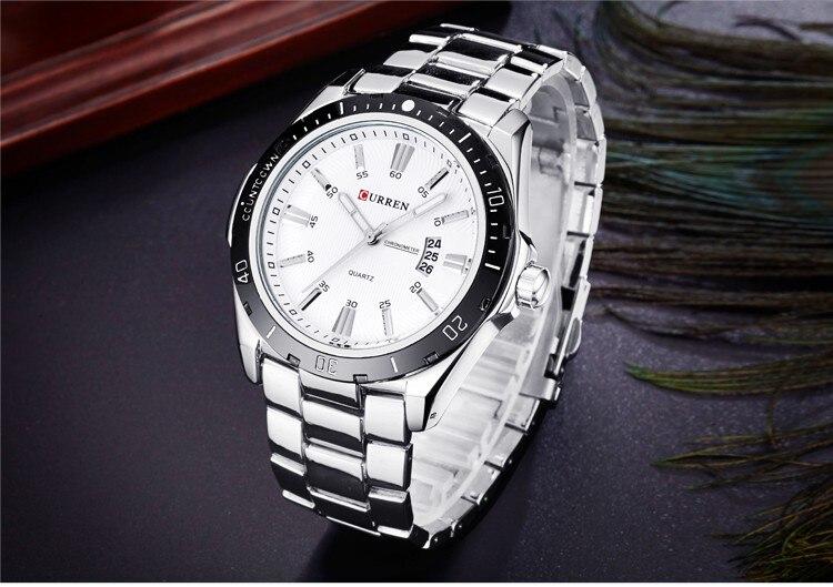 Mens Watches Top Luxury Brand CURREN 18 Men Full Steel Watches Quartz Watch Analog Waterproof Sports Army Military WristWatch 15
