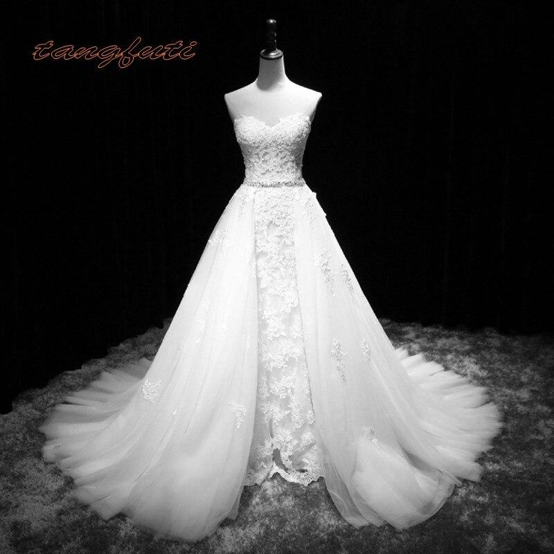 Détachable Robes De Mariée avec Jupe Amovible Tulle Dentelle Appliques Robes De Mariée Mariage Mariée Mariée Robe de Mariée 2018