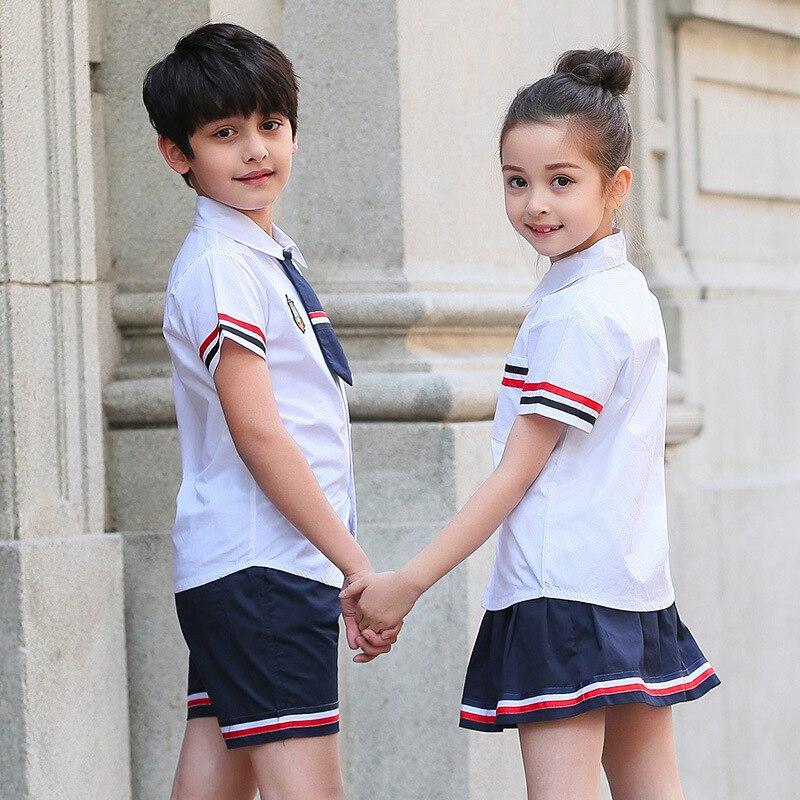 Kurze Hosen Shirts Teilelos 2 Kurzarm 99neue Mädchen Für Blusen Kinder Kleidung Us25 Anzüge Jungen Schuluniform Röcke Student In shQCtrdx