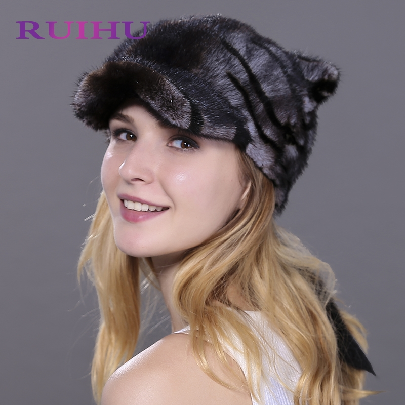 RUIHU New Women Hat Tiger  Style Mink Fur Lovely Cap Lady Female Tail Thick Real Fur Hats For Women Touca Inverno Gorros RHM701 ruihu new women mink fur cat ears solid hats winter warm casual for women female beanies mujer touca inverno feminina rhm609