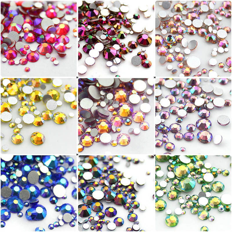 Mix Sizes SS3-SS20 Nail Art Rhinestone 8g/pack AB colors Glass Flatback Non Hot Fix Rhinestones For Nails 3D Nail Decoration