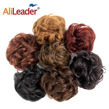AliLeader Blonde Curly Fake Hair Bun Ponytail Extensions Short Hair Chignon Messy Donut Hair Drawstring Ponytail Black Woman 1PC(China)