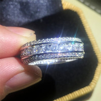 Luxury high quality Authentic 10KT white gold filled full stone Rings with pave 5a Zircon rings European Women men style