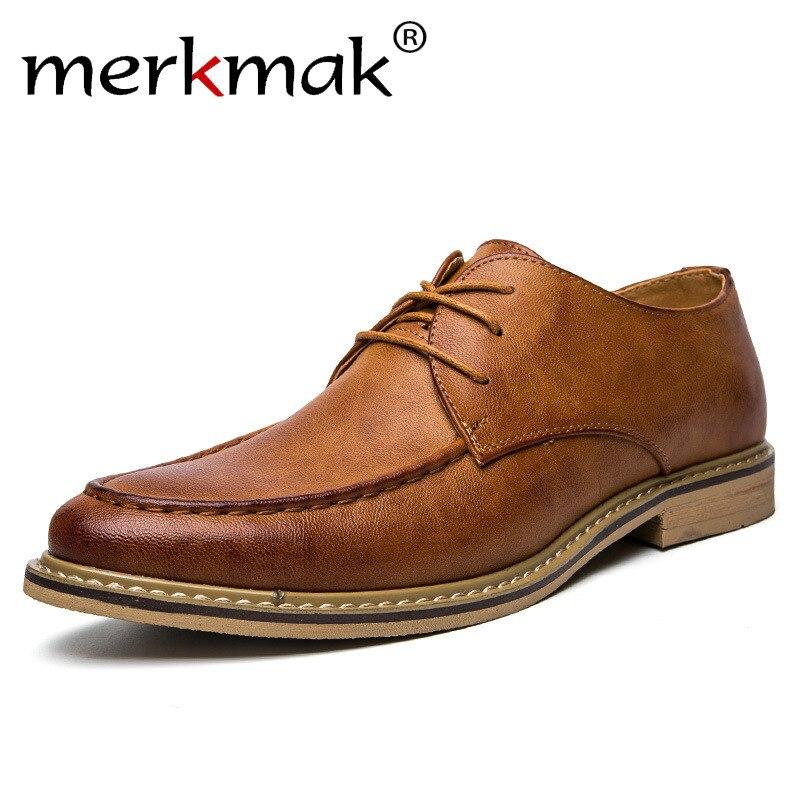 Merkmak Men Dress Shoes Men's Leather Shoes Classic Oxfords Shoes Man Lace Up Comfortable Formal Wedding Party Male Flat Shoes