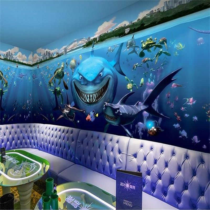 beibehang custom wall paper photo underwater world cartoon shark restaurant kindergarten childrens room 3d wall mural - Underwater World Restaurant