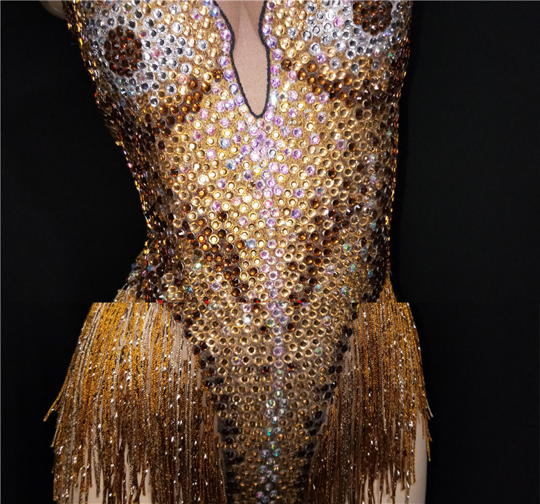 Women Sexy Bar Stage Performance Costume Gold Rhinestones Tassel Backless Bodysuit Nightclub DJ Singer Dance Latin Show Jumpsuit