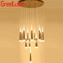 Modern Large led Chandelier Pendant Lamp stairway Hanglamp for Stair Hotel Spiral Chandeliers Lighting fixtures long suspension spiral staircase led chandelier lighting long stairway crystal chandelier lamps 2m 16 pcs large luxury hotel stair lighting g4