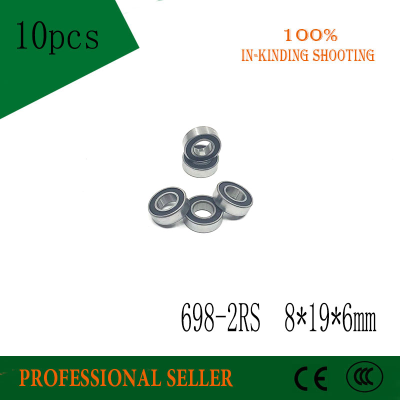 10pcs/Lot 698-2RS 698 RS 8x19x6mm Rubber Sealed Ball Bearing Miniature Bearings 698rs