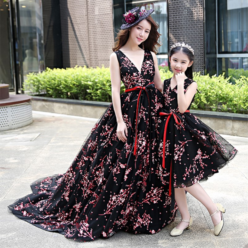 Mother Daughter Dress for Wedding Clothes Sleeveless Black Mom and Daughter Dress Fashion Summer Autumn Floral Family Clothing girls summer clothes dressed baby girl mom daughter dress above knee mini floral dress sleeveless cinderella dress
