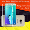 2Pcs Front Full Screen Cover Explosion Tempered Glass Screen Film Protector For Samsung Galaxy S6 Edge Plus/S6 Edge + Back Glass