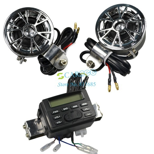 New Waterproof ATV/ Motorcycle ATV FM Radio motorcycle speakers with MP3/CD Input Cable 2814