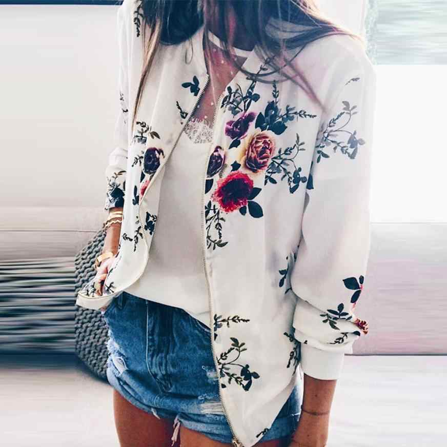 Outerwear & Coats Jackets Women Fashion Slim Coat Floral Jacket Zipper Long Sleeve coats and jackets women 2018JUL30