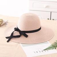 Nuova Primavera Estate Visiere Cap Spiaggia Delle Donne di Estate cappelli di Sun 2018 Brand New Flat Top Straw Bowknot del nastro del Cappello Grande Sole Tesa cappello