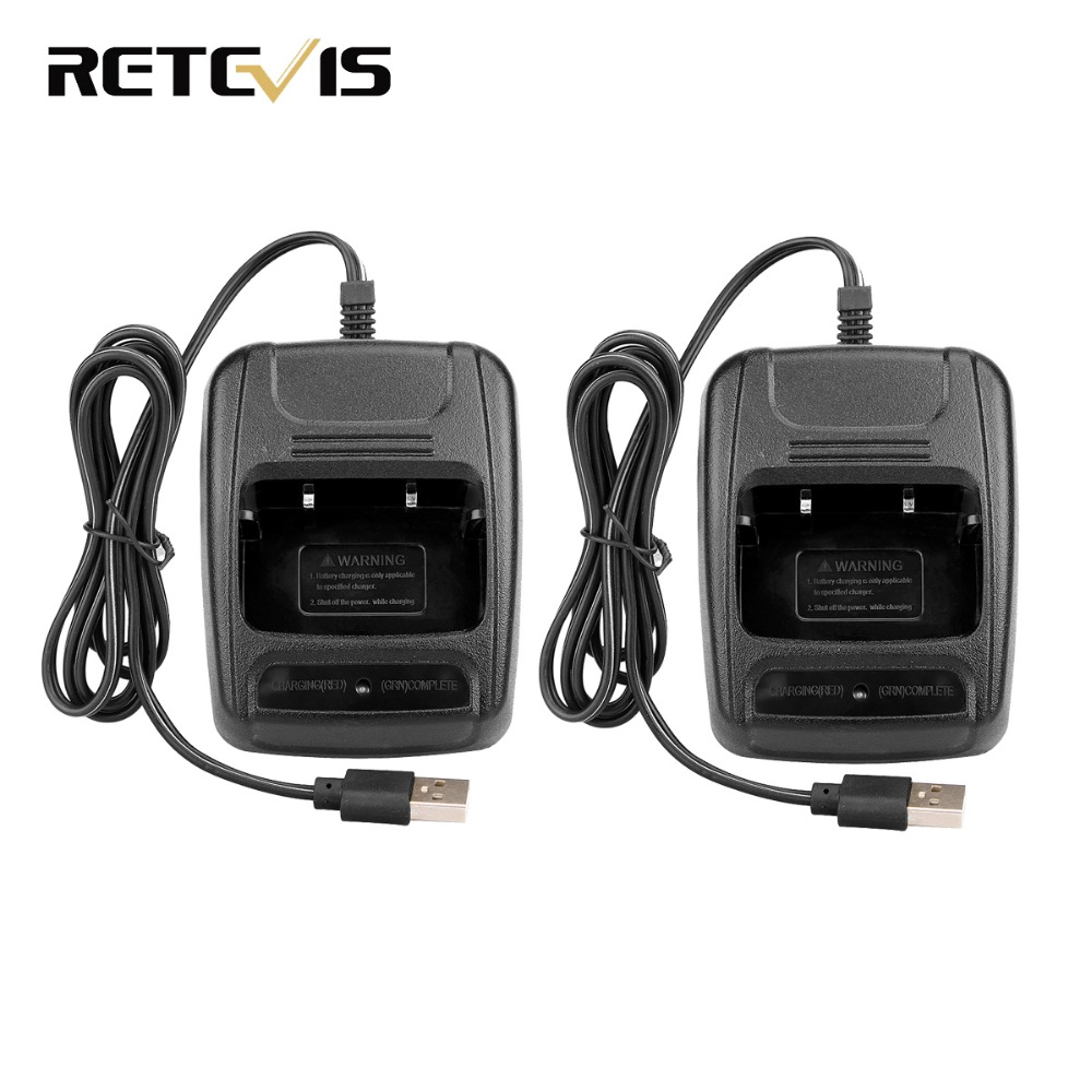 2pcs USB Li-ion Battery Charger For Retevis H777 Baofeng 888S BF-888S Two Way Radio Walkie Talkie J9104E