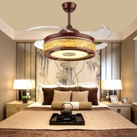 LukLoy китайский Стиль Невидимый вентилятор подвесной светильник Элегантный и красивая китайская живопись абажур дома декоративными утилита