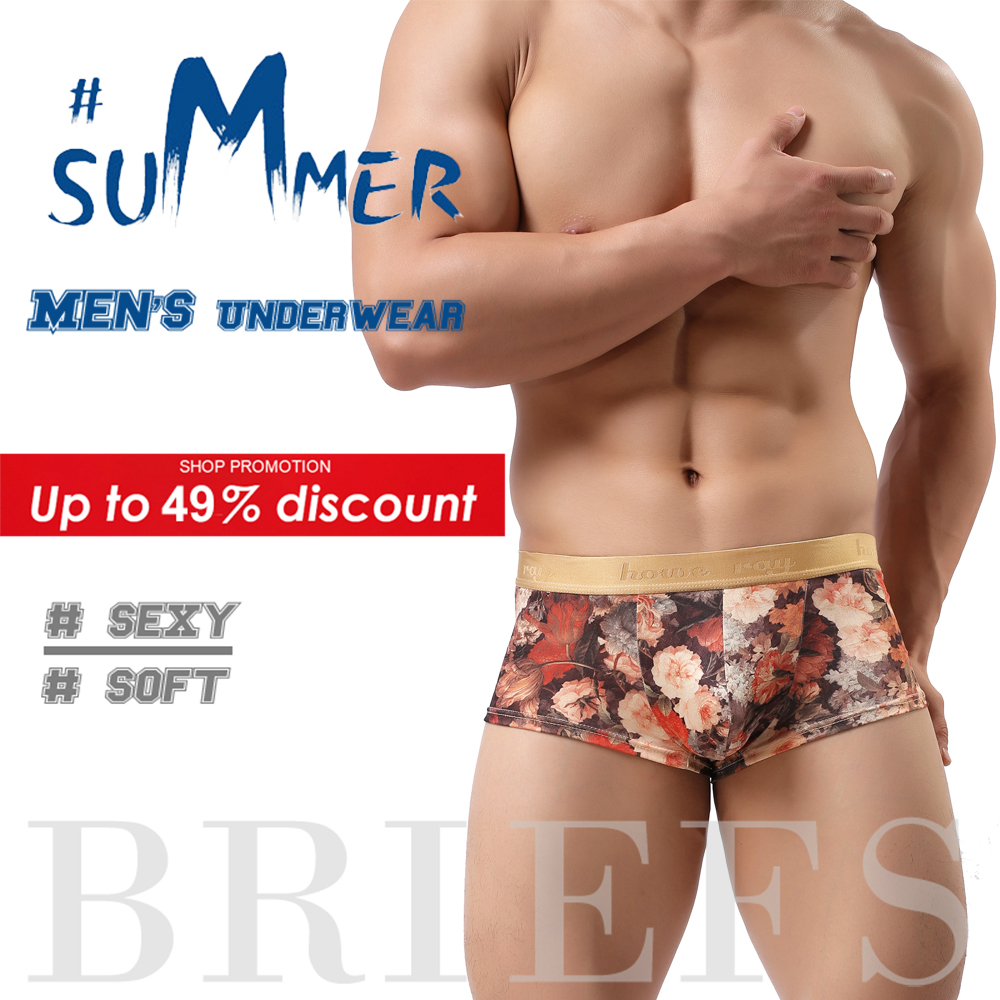 Mens Underwear Panties Shorts U-Convex-Pouch Sexy Breathable Floral Soft Male