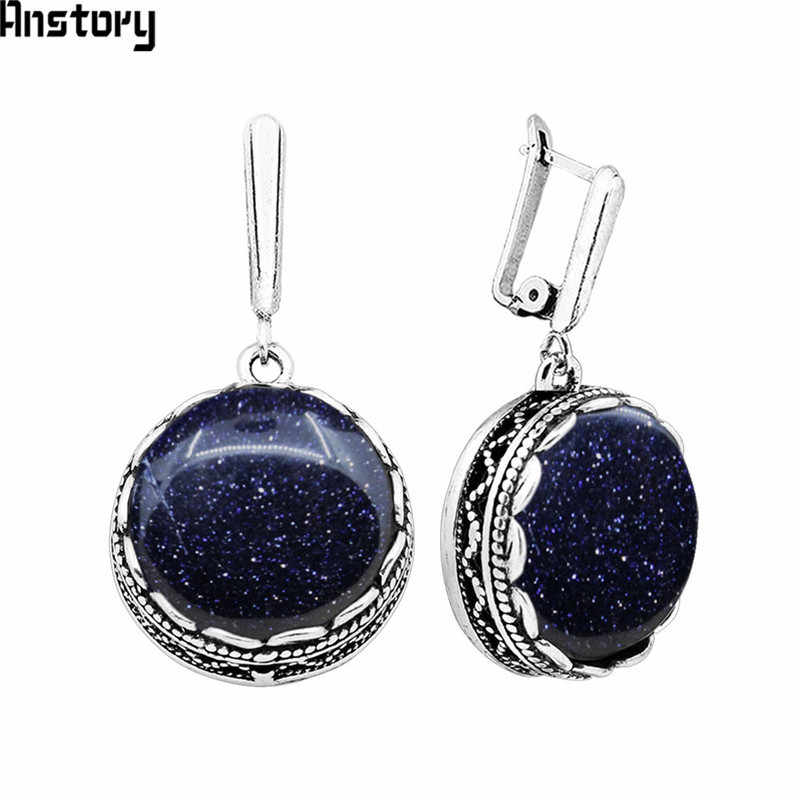 Anstory Round Dark Blue Sequins Stone Earrings For Women Antique Silver Plated Party Hollow Flower Pendant Fashion Jewelry TE352