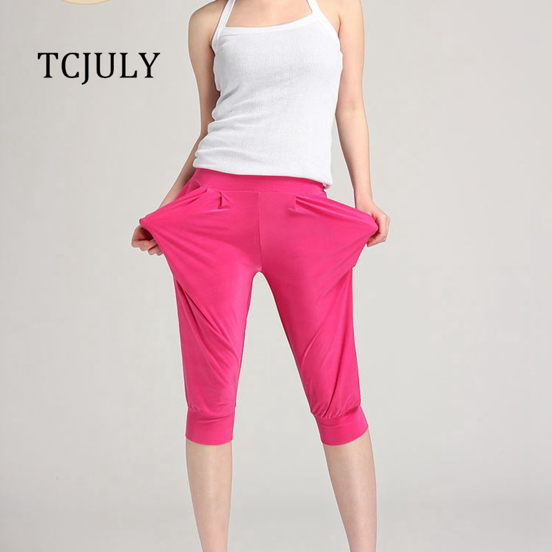 TCJULY New Summer Candy Color Solid Harem Pants Women Capris High Waist Stretching Palazzo Trousers Breathable Calf Length Pants