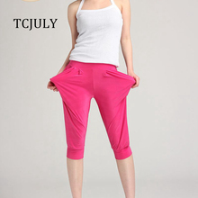 TCJULY New Summer Candy Color Solid Harem Pants Women Capris
