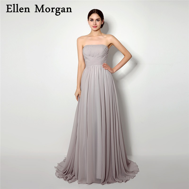 Simple Silver Chiffon Bridesmaid Dresses For Wedding Party Adult