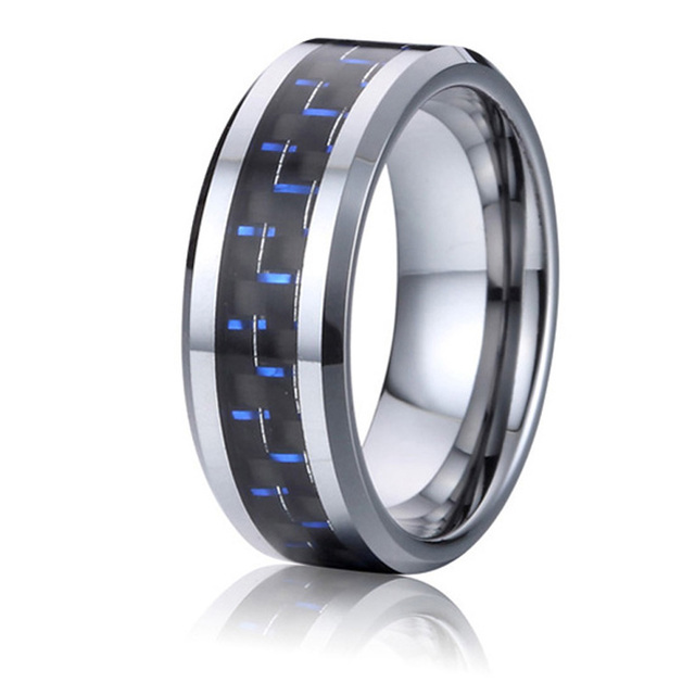 8mm tungsten rings designs wedding band for men and women blue carbon jewelry accessories wholesale china