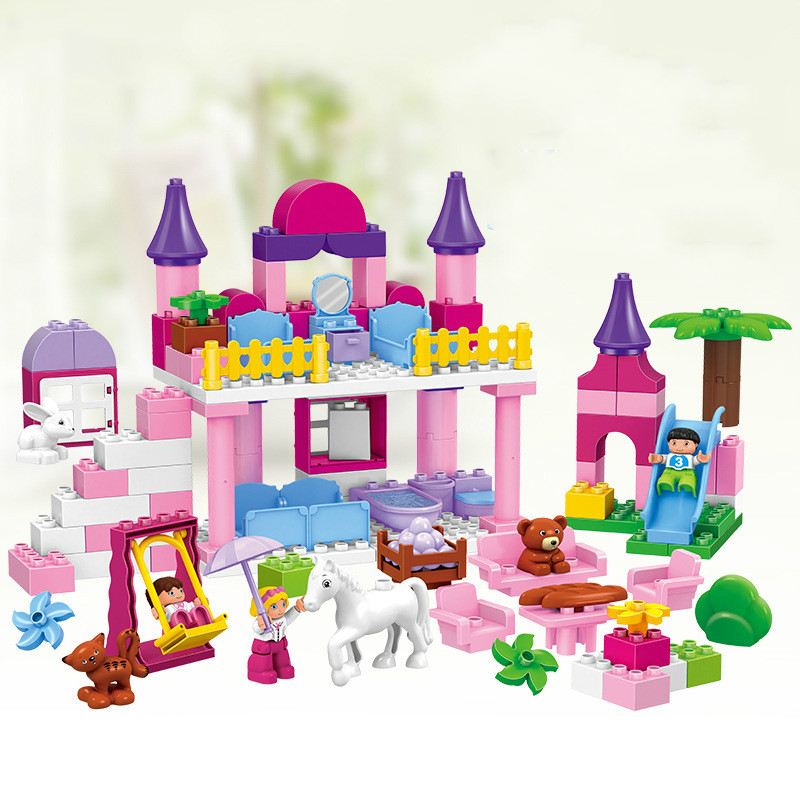 117pcs Girls Princess Castle Size Building Blocks Bricks Large Particles Educational Baby Toys Christmas Gifts Compatible Lepins diy 117pcs princess dream castle park larger particles building blocks toy kids girl best gift compatible with legoed duploe