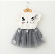 Girl's clothes 100% summer fashion style /2016/ cartoon lovely white cartoon cat print dress dress 2-6 years old hot sale 1 4 years summer 2016 100 page 2
