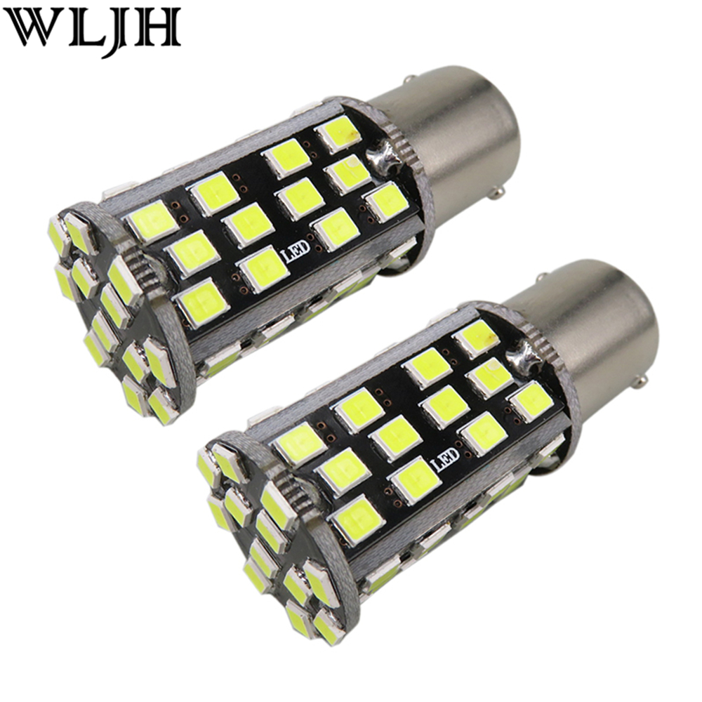 WLJH 2X Amber White Red Blue 60 Led 2835 SMD P21W 1156 7506 10W Auto LED Lighting Car Front Turn Signal Light Lamp Bulbs Canbus flytop 2 x w5w 10smd canbus t10 5630 smd 194 led car bulbs error free can bus auto lights white blue crystal blue yellow red
