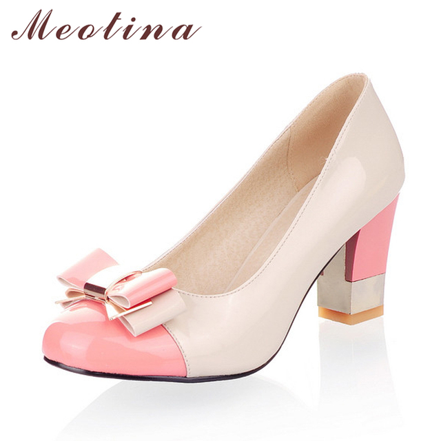 Meotina Ladies Shoes Pumps Autumn Round Toe Basic Office Chunky High Heels Shoes Women Bow Candy Color Shoes Plus Size 9 10