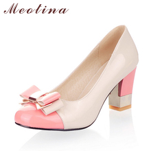 Meotina Ladies Shoes Pumps Autumn Round Toe Basic Office Chunky High Heels Shoes Women Bow Candy Color Shoes Plus Size 9 10(China)