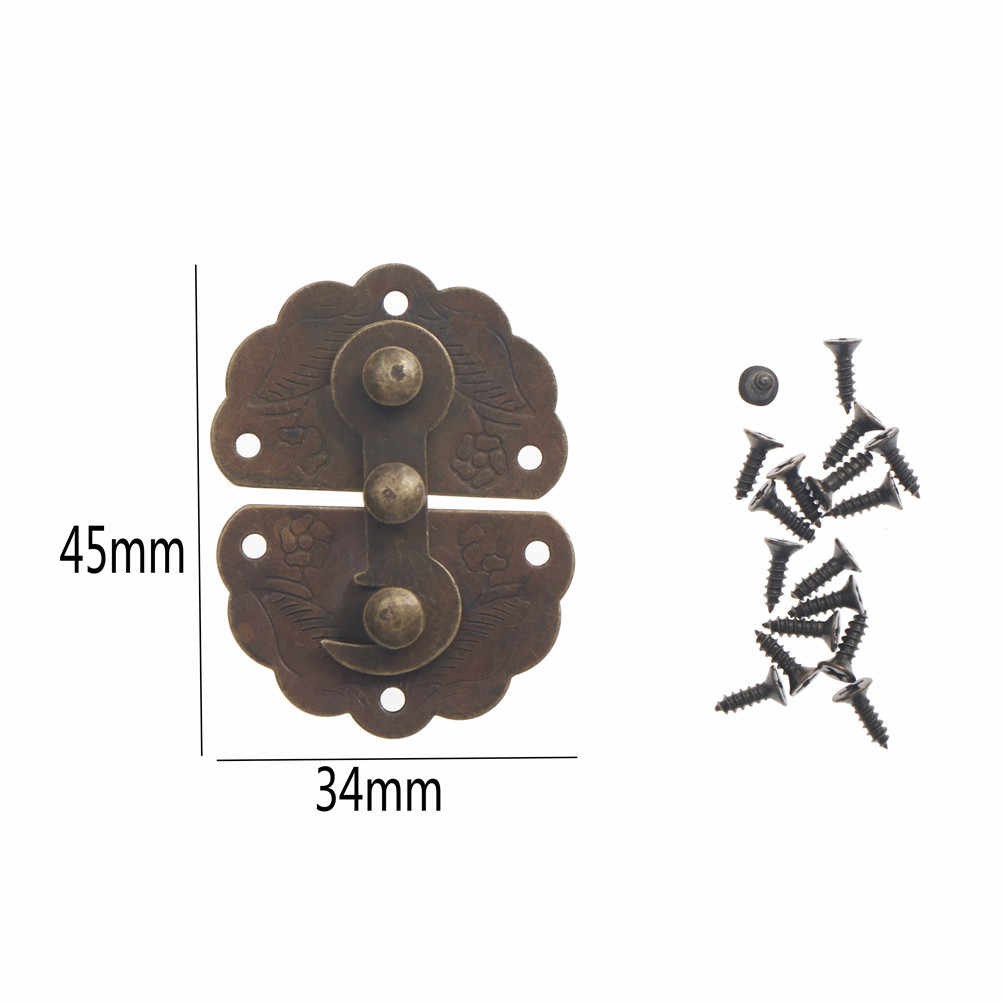 Antique Bronze Furniture Hardware Box Latch Hasp Toggle Buckle Decorative Cabinet Hinges For Jewelry Wooden Box