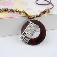 Antique Vintage Long Rope Chain Necklace Wooden Alloy Abacus Pendants Neckless Cord Men Jewelry Accessories Free Shipping