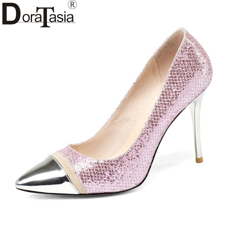 DoraTasia Brand New Big Size 34-43 Nature Cow Leather Women Pumps Sexy Thin High Heels Pointed Toe Party Wedding Shoes Woman big size sale 34 43 new fashion sexy pointed toe women pumps spring summer autumn high heels ladies wedding party shoes 6629