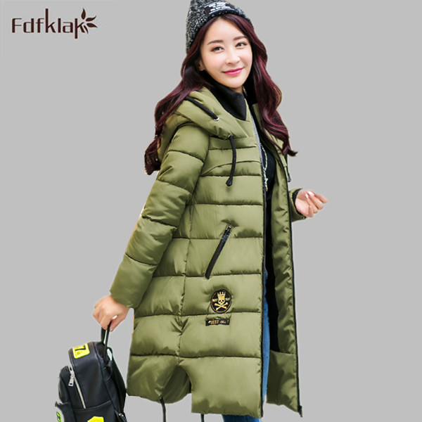 2016 New Women's Wadded Jacket Outerwear Fashion Cotton-Padded Jacket Medium-Long Coat Army Green Long Sleeve Hooded E0670 2015 new mori girl wave raglan hooded loose sleeve medium long wadded jacket female