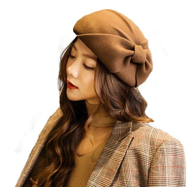 15fef35c4f966 ... FS Winter Ladies Fashion French Beret Hat For Women Australia Wool Black  Felt Fedora Female Bow