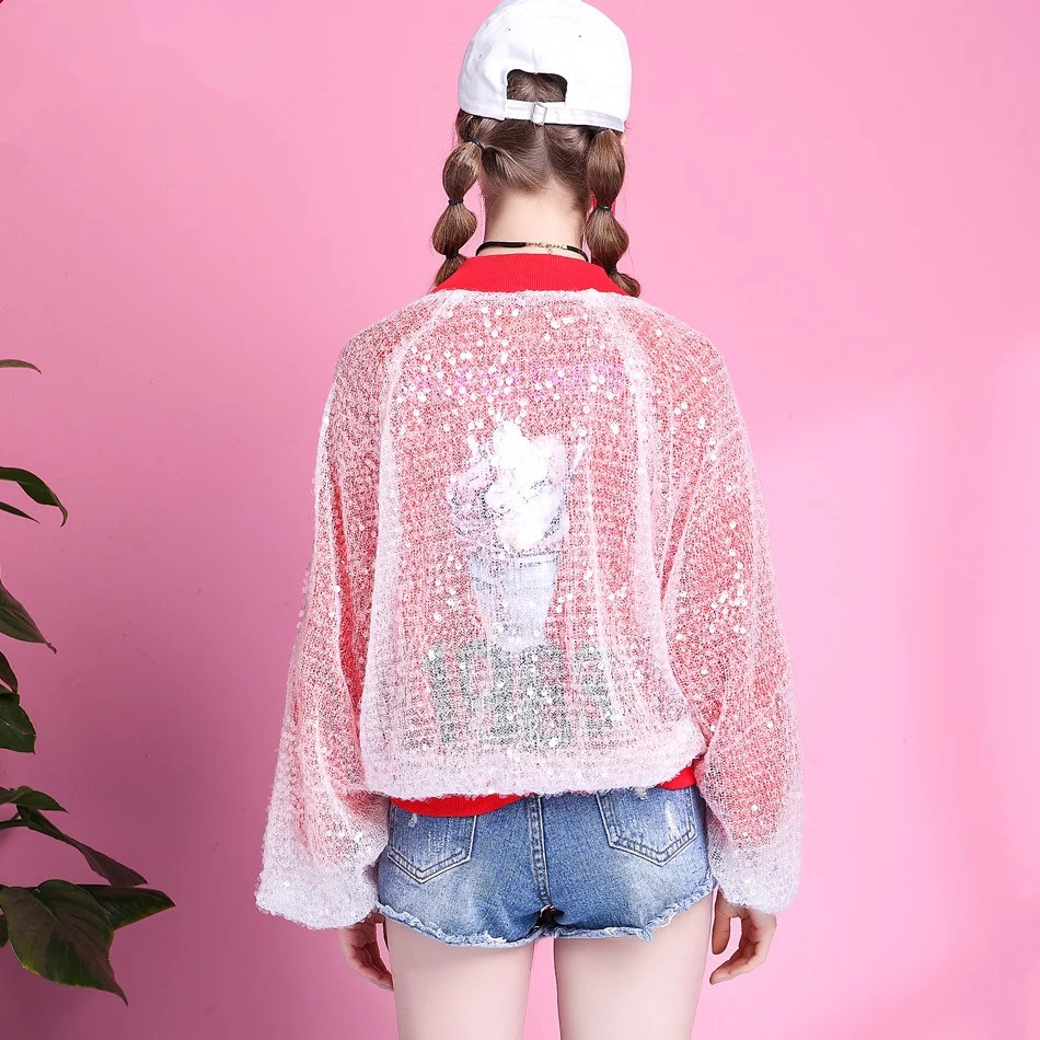 2018 Uniforme Haute Casual Baseball Qualité La De Lâche Court Streetwear Corée Mode Ladys Modèle Veste Nouveau Paillettes Pour Femmes wTZrF7w