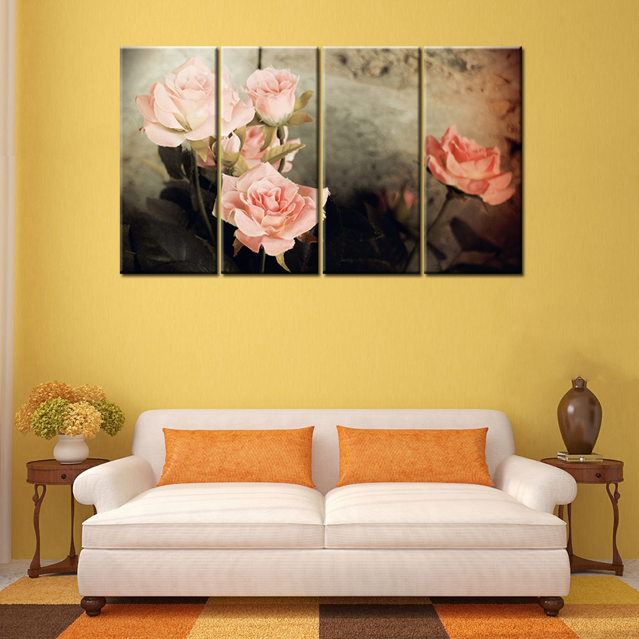 Beautiful Pink Rose Flowes Ink and Wash Painting Print on Canvas ...
