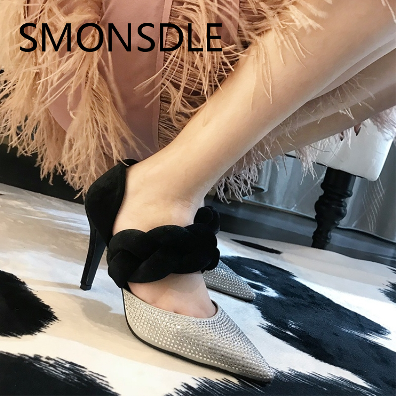 2018 New Spring Summer Women Pumps Genuine Leather Crystal Shallow Pumps High Heels Pointed Toe Slip On Party Shoes for Woman brand shoes woman spring summer rainbow women pumps high heels fashion sexy slip on pointed toe thin heel party wedding shoes