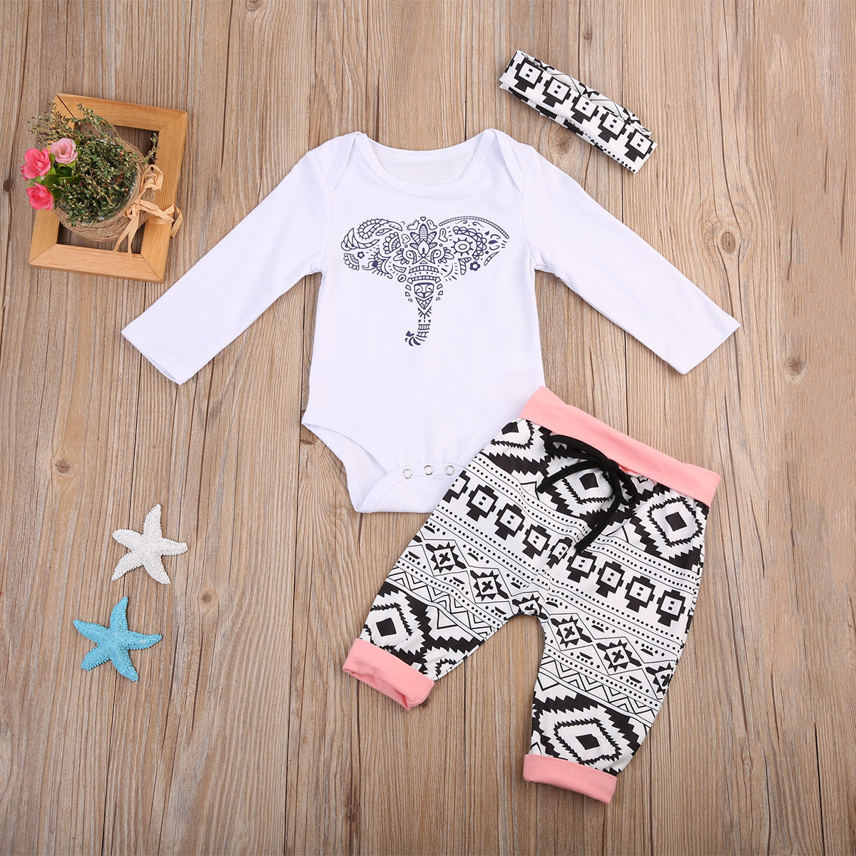 2017 Adorable 3pcs Set Infant Toddler Baby Boy Girl Tops Romper+Long Pants + Headbands Outfits Clothes Set